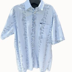 Mens Izod Striped Hawaiian Button Up Size Large